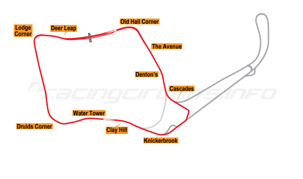 Map of Oulton Park, Fosters Circuit 1992-2002