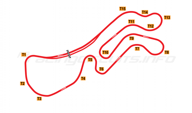 Map of Palmer Motorsports Park, Full course 2015 to date