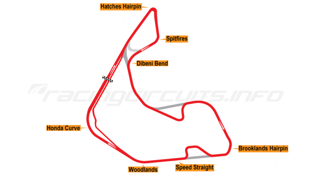 Map of Pembrey, Full circuit with both variations 2017 to date