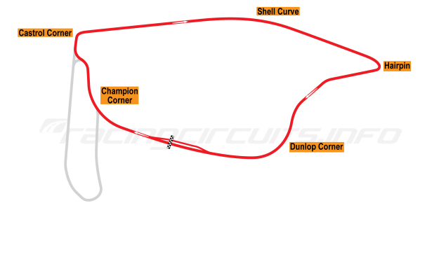 Map of Pukekohe Park, Main circuit 1967-1989