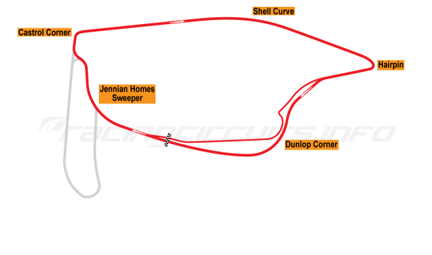 Map of Pukekohe Park, Main circuit 1990-2012