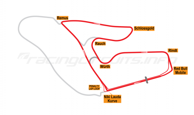 Map of Red Bull Ring, Red Bull Ring Motorcycle Grand Prix Circuit 2019 to date