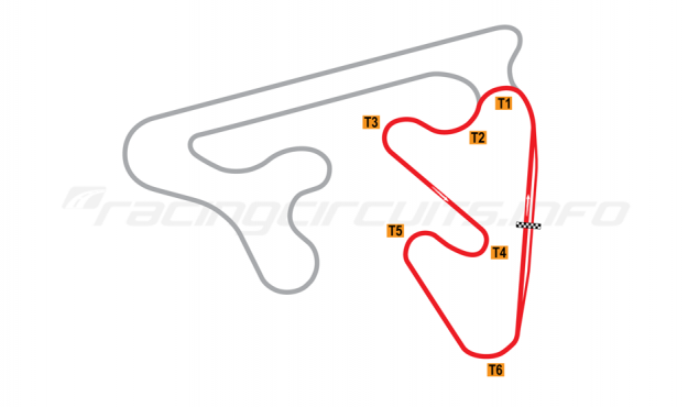 Map of Red Star Raceway, Short Circuit (Anti-Clockwise) 2010 to date