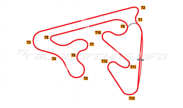 Map of Red Star Raceway, Full Circuit (Anti-Clockwise) 2010 to date