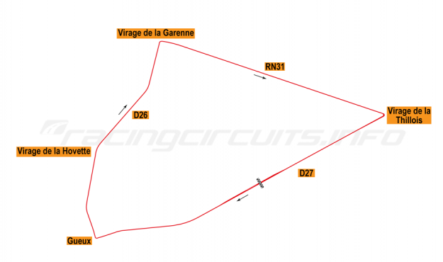 Map of Reims, Grand Prix Circuit 1926-51