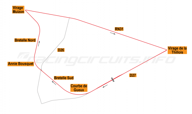 Map of Reims, Grand Prix Circuit 1953