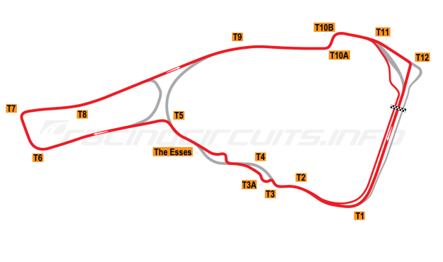 Map of Road Atlanta, Motorcycle Grand Prix Circuit + Turn 4 Chicane 2008 to date