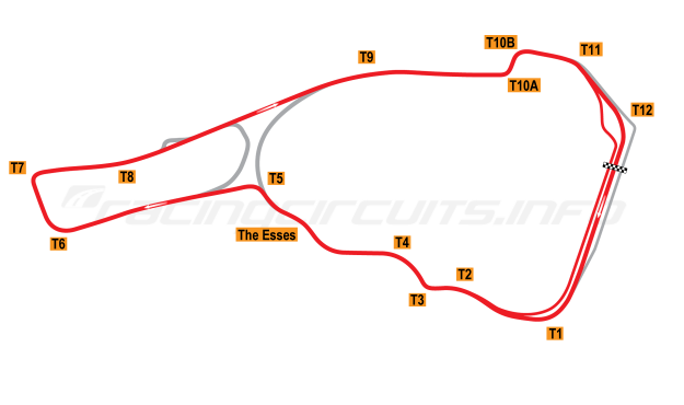 Map of Road Atlanta, Grand Prix Circuit (new pitlane) 1998-2002