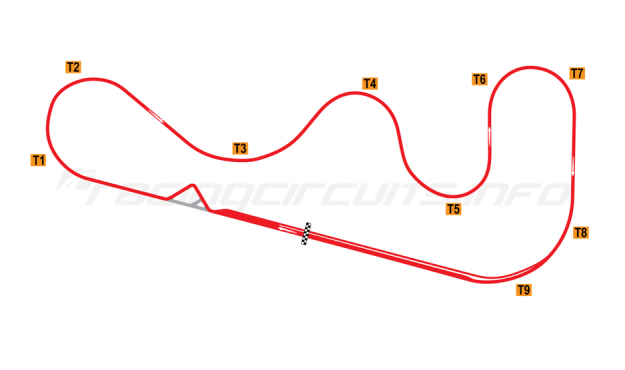 Map of Roebling Road, Road course with large chicane 1997 to date
