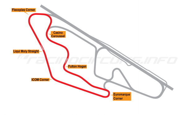 Map of Ruapuna Park, 'B' Circuit 1993 to date