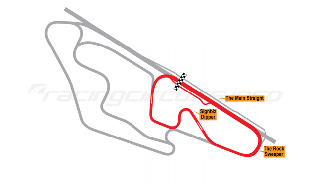 Map of Ruapuna Park, 'A' Trioval Circuit + Dipper 1993 to date