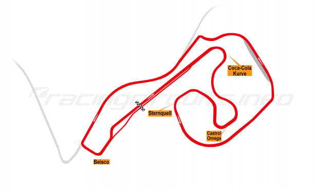Map of Sachsenring, Grand Prix Circuit 1998-99