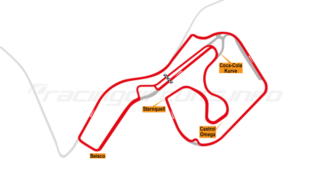 Map of Sachsenring, Bike Circuit 1996-97