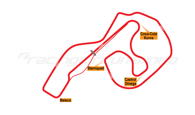 Map of Sachsenring, Grand Prix Circuit 2000