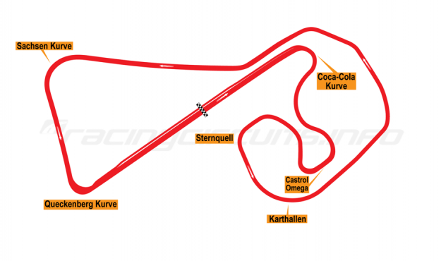 Map of Sachsenring, Grand Prix Circuit 2001-02