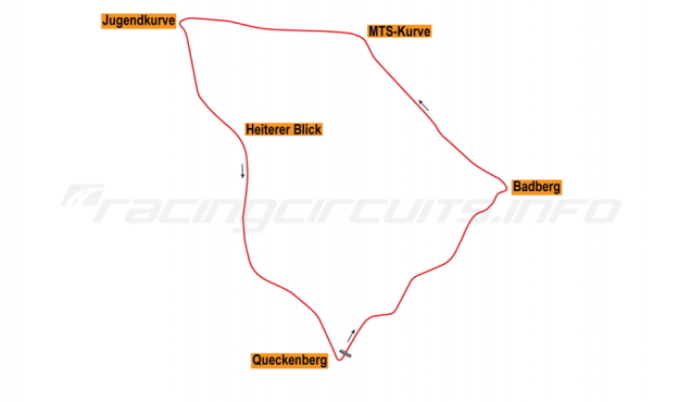 Map of Sachsenring, Grand Prix Circuit 1927-89