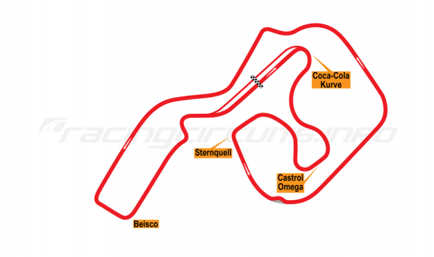 Map of Sachsenring, Grand Prix Circuit 1996-97