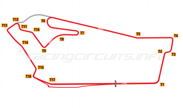 Map of Sandown Raceway, International Circuit 1984-2001