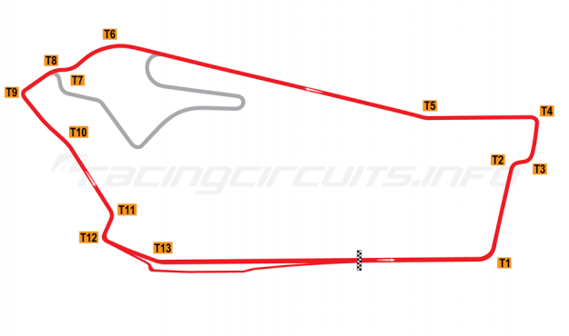 Map of Sandown Raceway, National Circuit 1984-2001