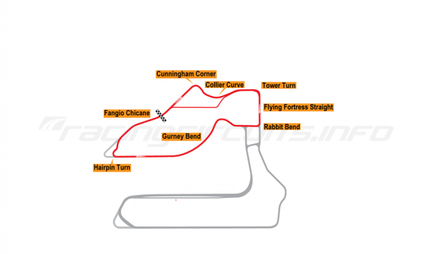 Map of Sebring, Johnson Club Circuit 1999 to date