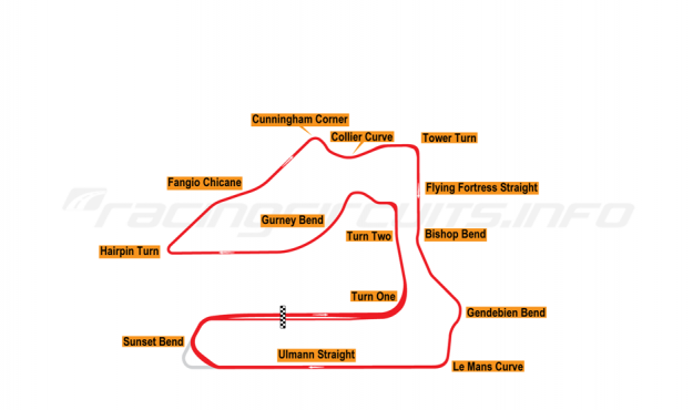 Map of Sebring, 12 Hours Circuit 1998