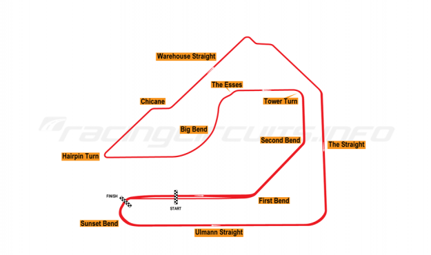 Map of Sebring, Grand Prix Circuit 1984-86