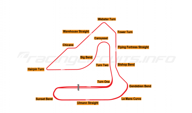 Map of Sebring, Grand Prix Circuit 1987-90