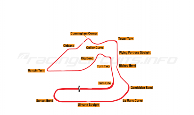 Map of Sebring, Grand Prix Circuit 1991-95