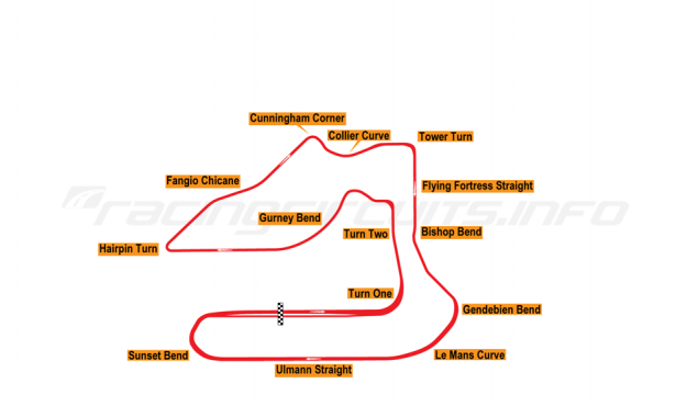 Map of Sebring, Grand Prix Circuit 1997