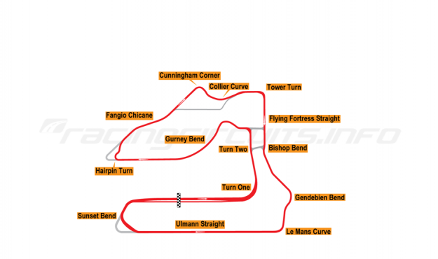 Map of Sebring, Grand Prix Circuit 1999-2018
