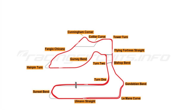 Map of Sebring, 1000 Miles of Sebring Circuit 2019 to date