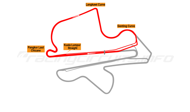 Map of Sepang, North Circuit 1999 to date