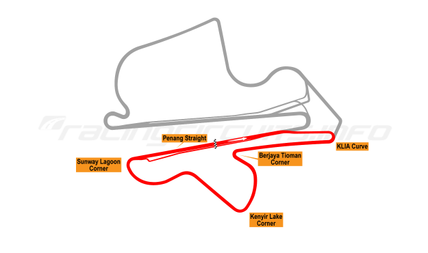 Map of Sepang, South Circuit 1999 to date
