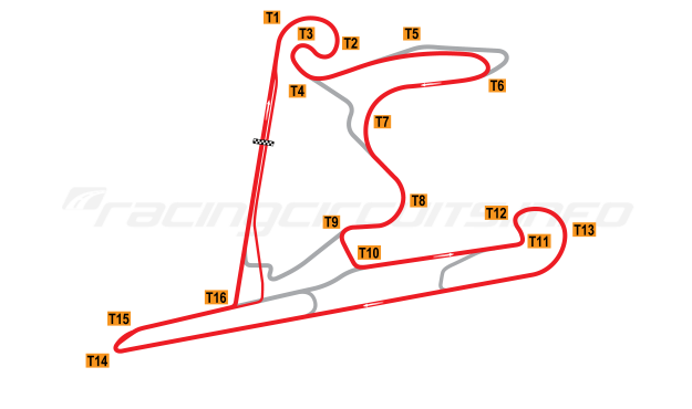 Map of Shanghai International Circuit, Motorcycle Grand Prix Circuit 2004 to date