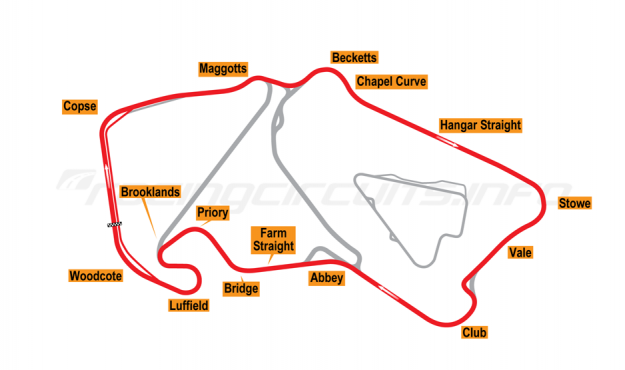 Map of Silverstone, Motorcycle Grand Prix Circuit 1997-2002