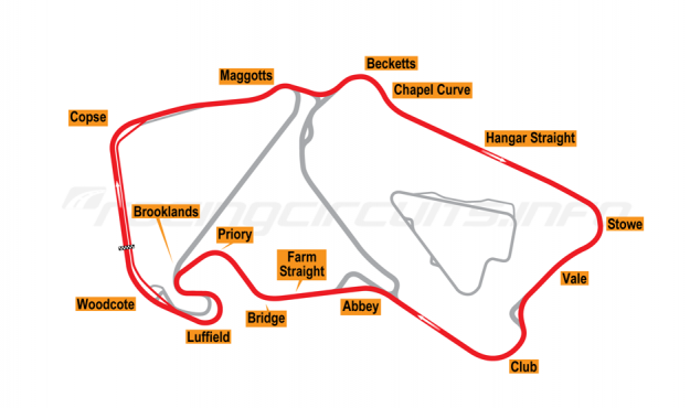 Map of Silverstone, Historic Grand Prix Circuit 2003-09
