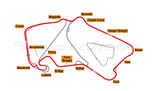 Map of Silverstone, Motorcycle Grand Prix Circuit 2003-09