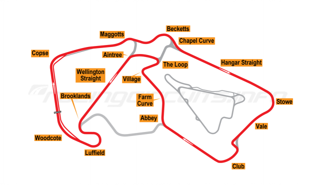 Map of Silverstone, Grand Prix Arena Circuit 2010