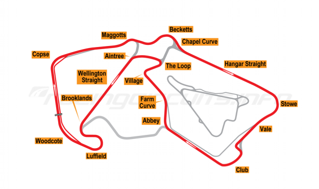 Map of Silverstone, Grand Prix Arena Circuit (Original Pits) 2011 to date
