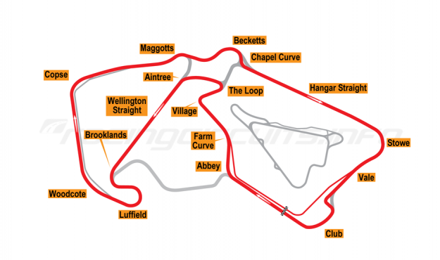 Map of Silverstone, Motorcycle Grand Prix Arena Circuit (Wing Pits) 2011 to date