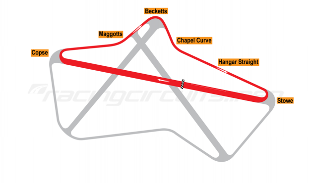 Map of Silverstone, Club Circuit 1950-51