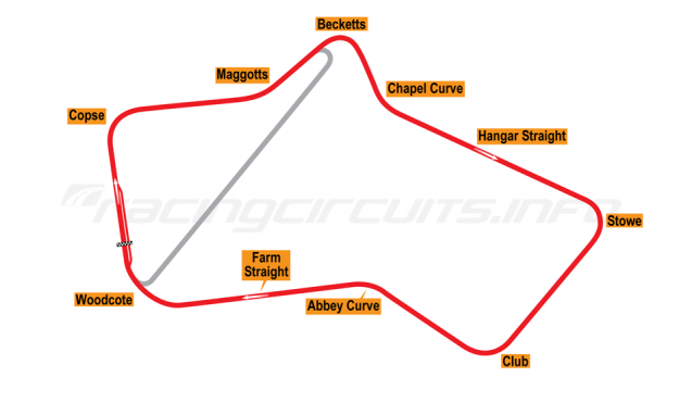 Map of Silverstone, Grand Prix Circuit 1952-74