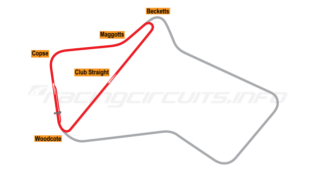 Map of Silverstone, Club Circuit 1952-74