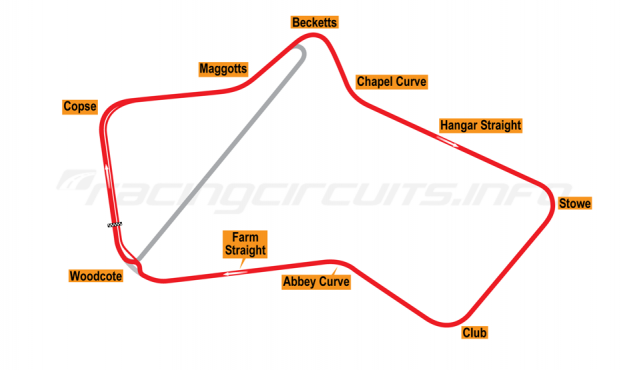 Map of Silverstone, Grand Prix Circuit 1975-86