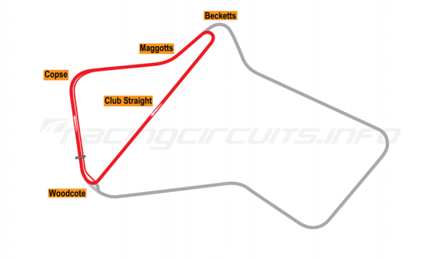 Map of Silverstone, Club Circuit 1975-86