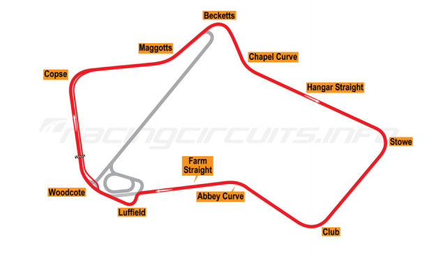 Map of Silverstone, Grand Prix Circuit 1987-90