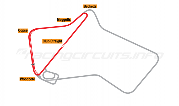 Map of Silverstone, Club Circuit 1987-90