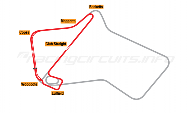Map of Silverstone, National Circuit 1987-90