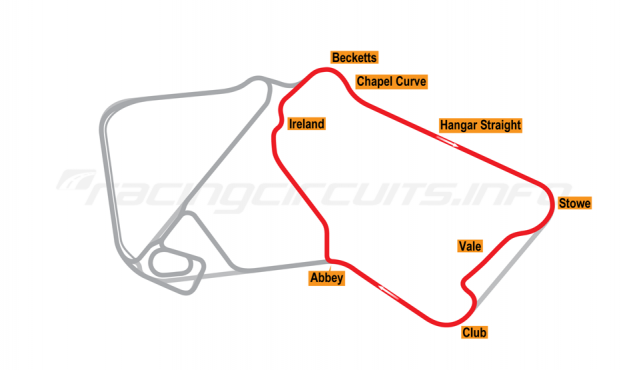 Map of Silverstone, South Circuit 1991-93