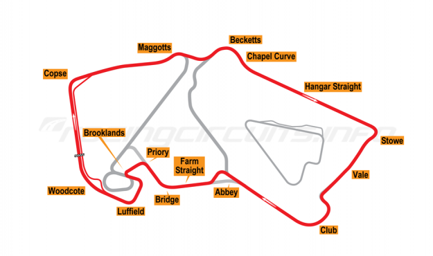 Map of Silverstone, Grand Prix Circuit 1994-95